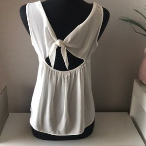 White airy with tie back tank